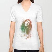 marley V-neck T-shirts featuring Marley Bob by getzair