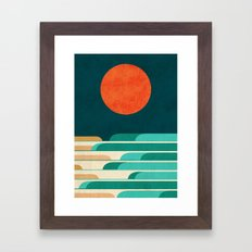 Chasing wave under the red moon Framed Art Print