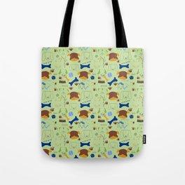 Good Doggie Hand-Drawn Cartoon Grass Green Dog Print Tote Bag