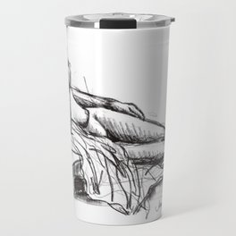 Reclining nude drawing from a live model Travel Mug
