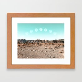 Desert Daylight Moon Ridge // Summer Lunar Landscape Teal Sky Red Rock Canyon Rock Climbing Photo Framed Art Print
