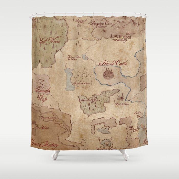 Map of Hyrule- Legend of Zelda Shower Curtain by kazpalladino ...