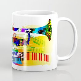 Abstract colorful music instrument painting.Trumpet, piano, musical notes, color splash, treble clef Coffee Mug