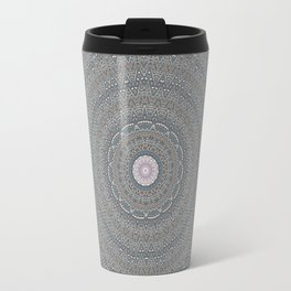 Decorative Soft Texture Blue Grey Mandala Design Travel Mug