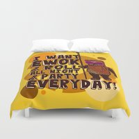 ewok Duvet Covers featuring I WANT EWOK & ROLL ALL NIGHT & PARTY EVERYDAY! by Silvio Ledbetter