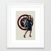 agent carter Framed Art Prints featuring Agent Carter by Tera Sidebottom