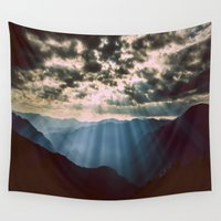 mountains Wall Tapestries featuring mountainS Dark Sunset by 2sweet4words Designs