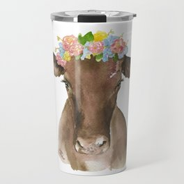 Brown Cow with Floral Wreath Travel Mug