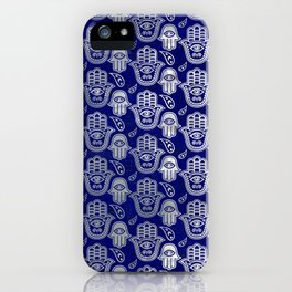 Hamsa Hand pattern - pearl and silver on lapis lazuli iPhone Case