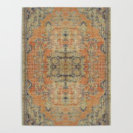Vintage Woven Coral and Blue Kilim Poster