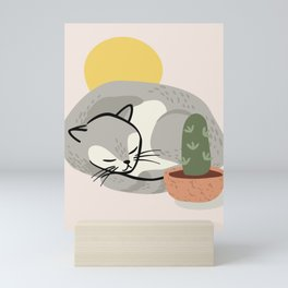 Hand drawn cartoon cat sleeping Mini Art Print