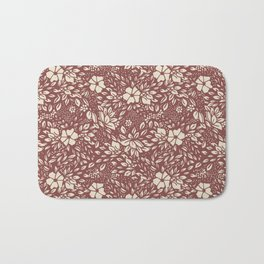 Abstract Geometric floral  - kind of damasc french style wallpaper  - red guava and cream Bath Mat