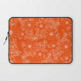 Hand drawn white bright orange modern floral Laptop Sleeve