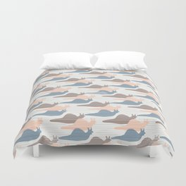 Pink Blue and Brown Snail Race Silhouette Seamless Duvet Cover
