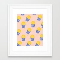 fries Framed Art Prints featuring Floral Fries by Bouffants and Broken Hearts