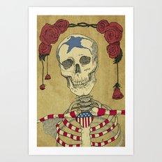 Skeleton and Roses Art Print