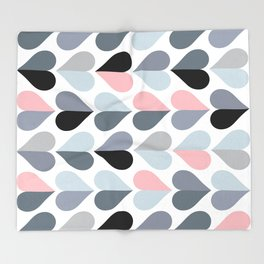Love and Kisses in Pink and Grey Throw Blanket