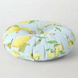 Watercolor lemons 10 Floor Pillow