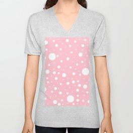 Mixed Polka Dots - White on Pink Unisex V-Neck