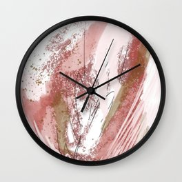 Sugar and Spice: a minimal, abstract mixed-media piece in pink and brown by Alyssa Hamilton Art Wall Clock