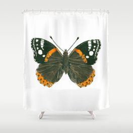Admiral butterfly ink illustration Shower Curtain