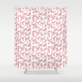 Winter Birds and Foliage Pattern (Red) Shower Curtain