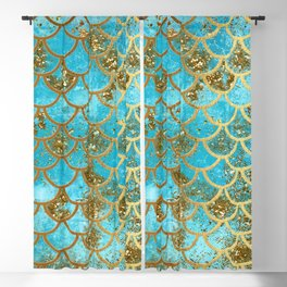 Aqua Teal & Gold Glitter MermaidScales - Mermaid Scales And Sea Foam Blackout Curtain