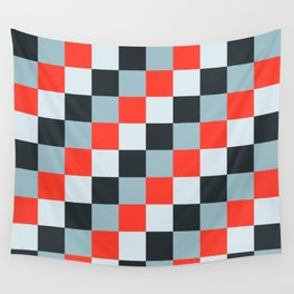 Stainless steel knife - Pixel patten in light gray , light blue and red Wall Tapestry