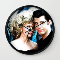 grease Wall Clocks featuring Sandy and Danny from Grease - Painting Style by ElvisTR