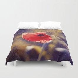 Red Poppy On Violet Duvet Cover