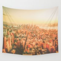new york city Wall Tapestries featuring New York City Sunset by Vivienne Gucwa