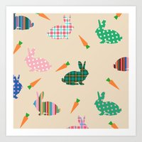 rabbits Art Prints featuring rabbits by vitamin