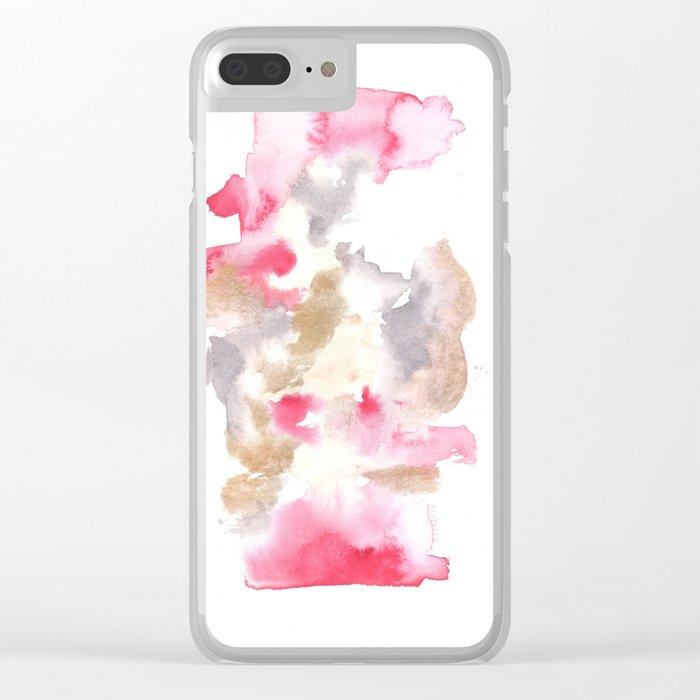 Watercolor Pink Black Flow | [dec-connect] 6. frigid Clear iPhone Case