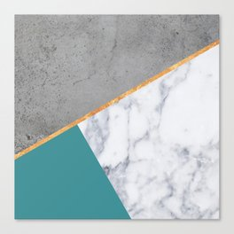 MARBLE TEAL GOLD GRAY GEOMETRIC Canvas Print