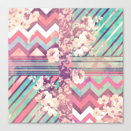 Retro Pink Turquoise Floral Stripe Chevron Pattern Canvas Print