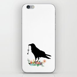 Raven with Vintage Key and Flowers iPhone Skin
