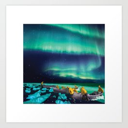 Fishermen Under Northern Lights Art Print