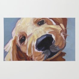 Golden Retriever Puppy Original Oil Painting Rug
