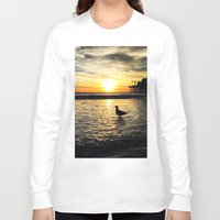 santa monica Long Sleeve T-shirts featuring Seagull at Santa Monica Pier California by Bill Gallagher Art