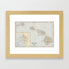 Vintage Map of Hawaii (1901) Framed Art Print
