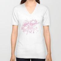 doodle V-neck T-shirts featuring doodle by Duru Eksioglu