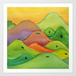 spiritual drawing - singing hills - Psalm 98:8 Art Print