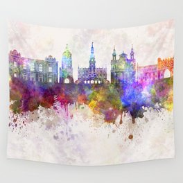 Lublin skyline in watercolor background Wall Tapestry
