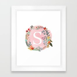 Flower Wreath with Personalized Monogram Initial Letter S on Pink Watercolor Paper Texture Artwork Framed Art Print