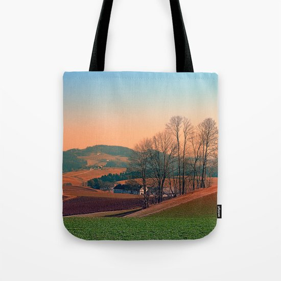 Trees, panorama and sunset | landscape photography Tote Bag
