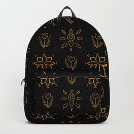Elegant Black and Gold Floral Pattern Backpack