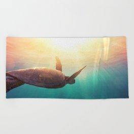 Sea Turtle - Underwater Nature Photography Beach Towel