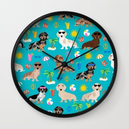 Dachshunds beach summer tropical vacation weener dogs doxie gifts Wall Clock