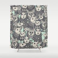 sweater Shower Curtains featuring sweater mice mint by Sharon Turner