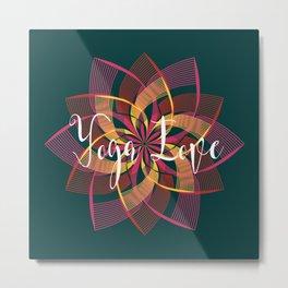 Bohemian Style Moody Colors, Yoga Love Mandala Metal Print